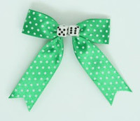 Dot green-white / white dice hair clips piece