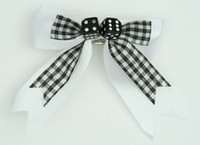 Check white / black dice hair clips piece