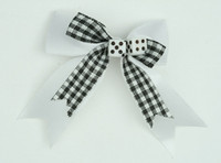 Check white / white dice hair clips piece
