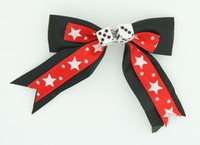 Star dot red-white / white dice hair clips piece