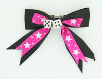Star dot D.pink / white dice hair clips piece