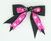 Star dot D.pink / black dice hair clips piece