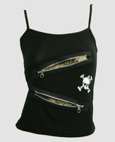 Front - PUS 2 zip spider black top punk top