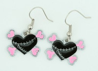 Heart bone black-pink sweet pendant
