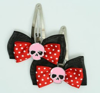 Black-red/ skull plain pink red skull