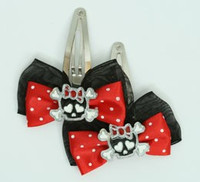 Black-red / cute skull bone Bl-red Red skull