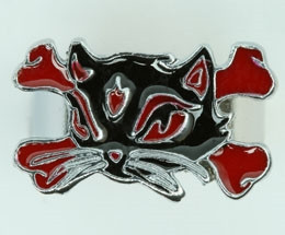 Cat bone black-red animal ring