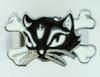 Cat bone black-white animal ring