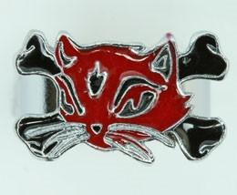 Cat bone red-black animal ring