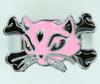 Cat bone pink-black animal ring