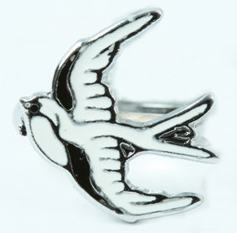 Swallow white animal ring