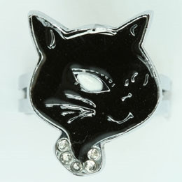 Cat black animal ring