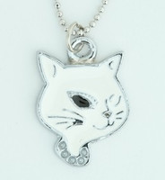 Cat white animal necklace