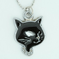 Cat black-white animal necklace