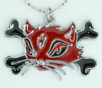 Cat bone red-black animal necklace