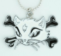 Cat bone white-black animal necklace
