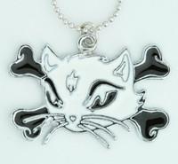 Cat bone white-black animal necklace