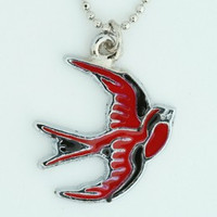 Swallow red animal necklace