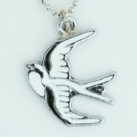 Swallow white animal necklace