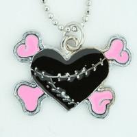 Heart bone black-pink sweet necklace