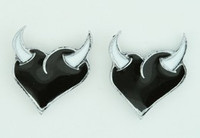 Heart horn black-white cute stud