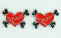 Heart bone red-black cute stud