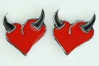 Heart horn red-black cute stud