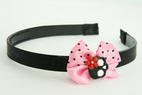 Skull flower black-red light pink bow & skull