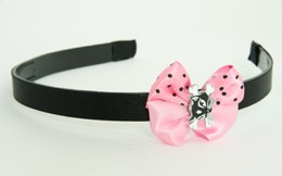 Cat bone black-white light Pink bow & animal