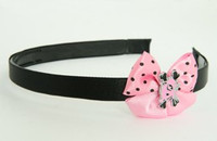 Cat bone pink-black light pink bow & animal