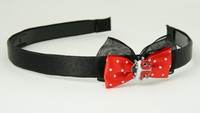 Black-red / ladybird red bow & animal
