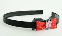 Black-red / cat bone pink-black red bow & animal
