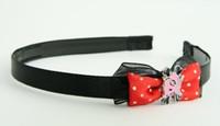 Black-red / cat bone pink-black red bow & animal