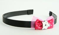 Pink / cat white dark pink bow & animal