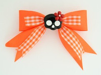 Orange / cute skull flower black-red orange cute skull