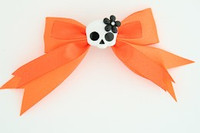 Orange / skull flower white-black orange cute skull