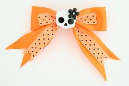 Dot orange / cute skull flower white-black orange cute skull