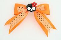 Dot orange / cute skull flower black-red orange cute skull