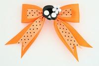 Dot orange / cute skull flower black-white orange cute skull
