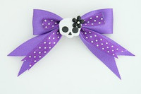Dot purple / cute skull flower white-black dark purple cute skull