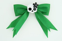 Green / cute skull flower white-black green cute skull