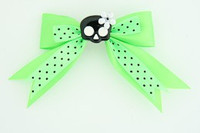 Dot green / cute skull glower black-white green cute skull