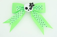Dot green / cute skull flower white-black green cute skull