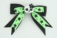 Bl-Green / cute skull flower white-black Black-green cute skull