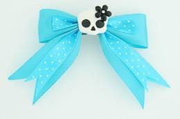 Dot blue / cute skull flower white-black blue cute skull