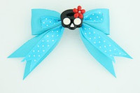 Dot blue / cute skull flower black-red blue cute skull