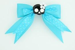 Dot blue / cute skull flower black-white blue cute skull