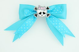 Dot blue / cute skull bone white-pink blue cute skull