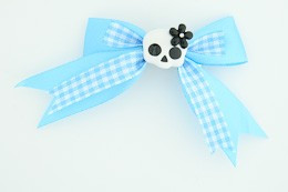 Blue / cute skull flower white-black blue cute skull