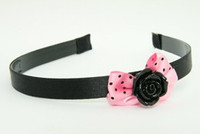 Rose black light pink bow & flower